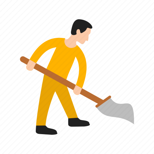 brush, cleaning, floor, house, man, sweep, sweeping icon
