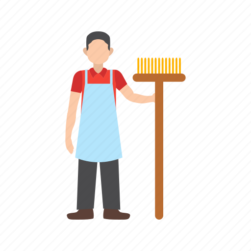 Broom, cleaner, hand, holding, man, mop, worker icon - Download on Iconfinder