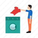 cleaning, clothing, home, laundry, machine, man, washing icon