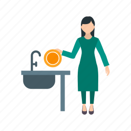apron, cleaning, dishes, home, kitchen, washing, woman icon