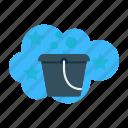 bucket, filled, handle, laundry, plastic, soap, washing icon