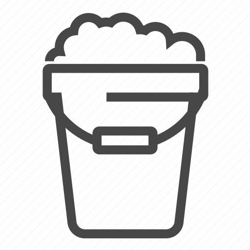 bucket, cleaning, sign, water icon