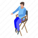 business, cartoon, chair, director, isometric, person, retro