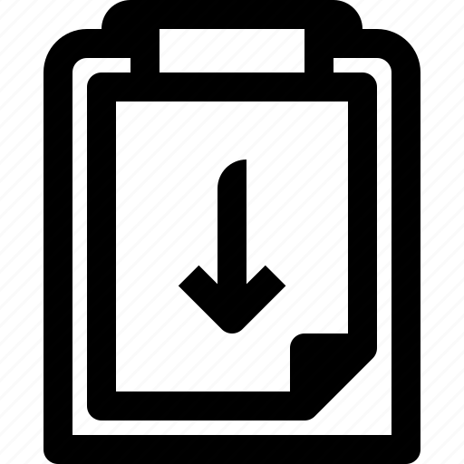 arrow, business, clipboard, document, down, management, paper, plan icon
