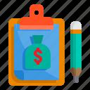 bag, board, check, clipboard, list, money, pad
