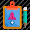 board, check, clipboard, list, pad, rocket, startup