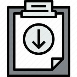 business, clipboard, data, document, down, file, paper icon