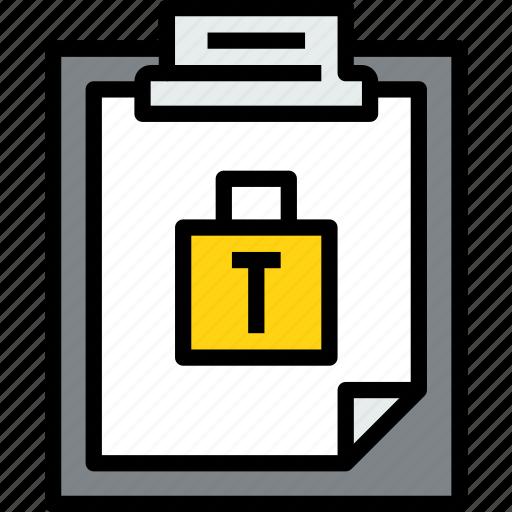 business, clipboard, data, document, file, lock, paper icon