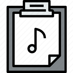 business, clipboard, data, document, file, music, paper icon