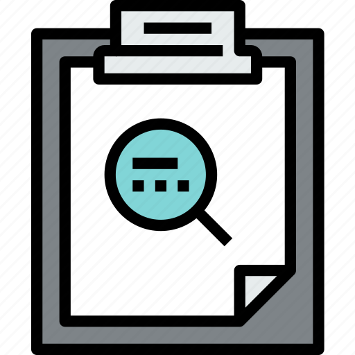 business, clipboard, data, document, file, paper, search icon