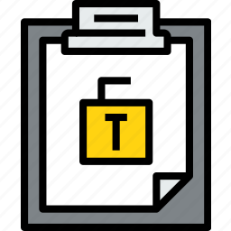 business, clipboard, data, document, file, paper, unlock icon