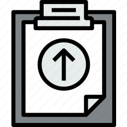 business, clipboard, data, document, file, paper, up icon