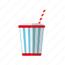 bucket, cinema, cola, entertainment, movie, soft drink, straw icon