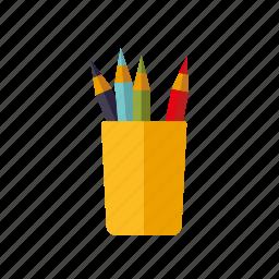color pencils, drawing, education, pencil, school icon