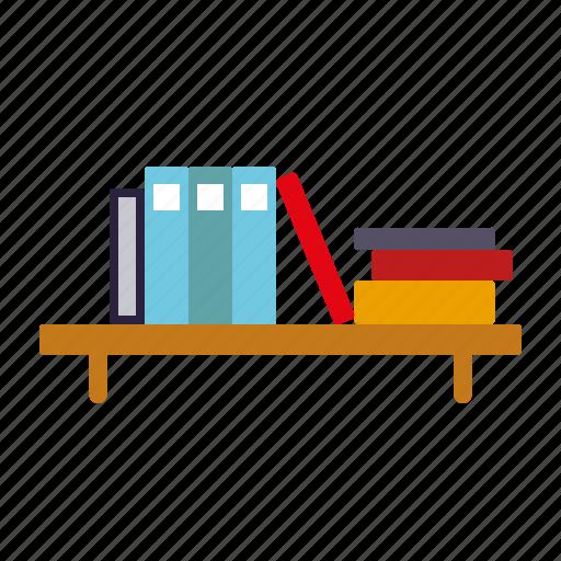 books, bookshelf, education, furniture, knowledge, library, school icon