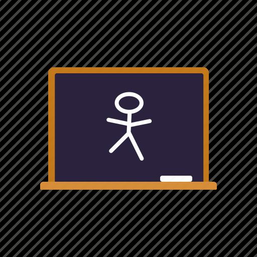 blackboard, chalkboard, classroom, drawing, education, elementary, school icon