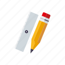drawing, education, pencil, ruler, school, utensil icon