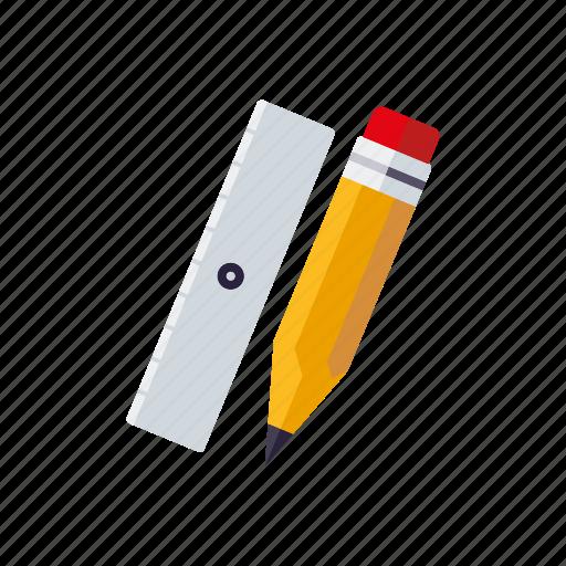 drawing, education, pencil, ruler, school, utensil icon