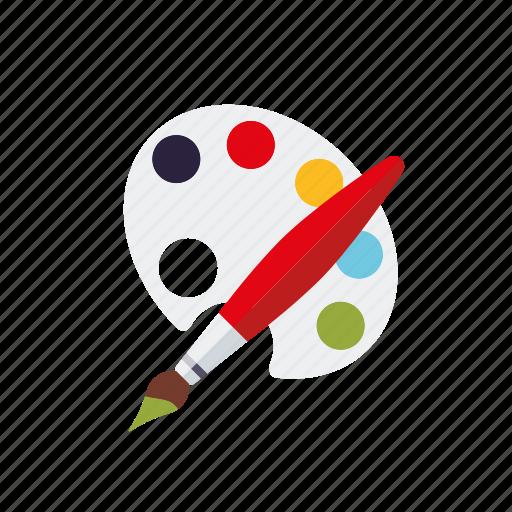 art, class, education, paintbrush, painting, palette, school icon