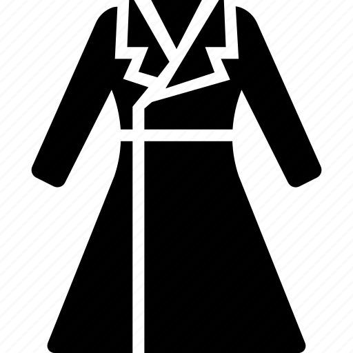 accessories, clothes, coat, dress, long, woman, women icon