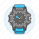 1, accessory, analog, black, clothes, watch, wristwatch icon