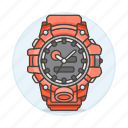 2, accessory, analog, clothes, red, watch, wristwatch icon