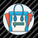 accessory, bags, blue, clothes, designer, handbag, purse, red, small icon