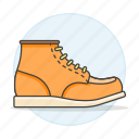 2, accessory, boots, clothes, footwear, orange, shoes, short icon