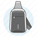accessory, backpack, bag, body, clothes, cross, dark, gray, luggage icon