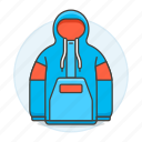 accessory, blue, clothes, garment, hoodie, hoody, jacket, pullover, red icon
