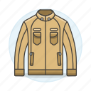 accessory, brown, clothes, fuzzy, garment, jacket, leather, suede icon