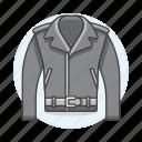 accessory, belt, biker, black, clothes, garment, jacket, leather, metal icon