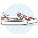 accessory, checkered, clothes, moccasin, shoes, shoesfootwear, sneakers icon