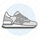 accessory, clothes, footwear, gray, running, shoes, sneakers icon