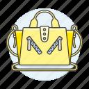 accessory, bags, clothes, designer, handbag, purse, small, yellow icon