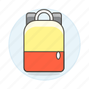 accessory, backpack, bag, bagpack, clothes, luggage, red, yellow icon