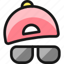 cap, sunglasses