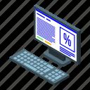 business, cartoon, computer, dekstop, isometric, pc, woman
