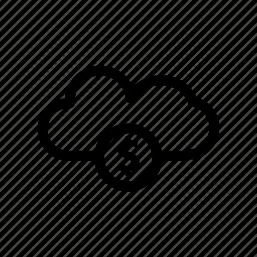 cloud, cloud dollar, network, server icon