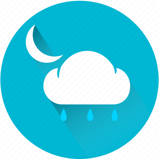 cloud, cloudy, night, rain, rainy, weather, weatherproof icon