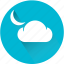 cloud, cloudy, moon, night, weather, weatherproof icon