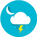 cloud, moon, rain, rainy, storm, thunder, thunderbolt icon