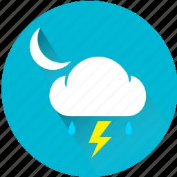 cloud, moon, rain, rainy, storm, thunder, thunderbolt icon