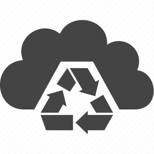arrow, cloud, download, sky icon