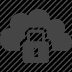 cloud, lock, security, sky icon