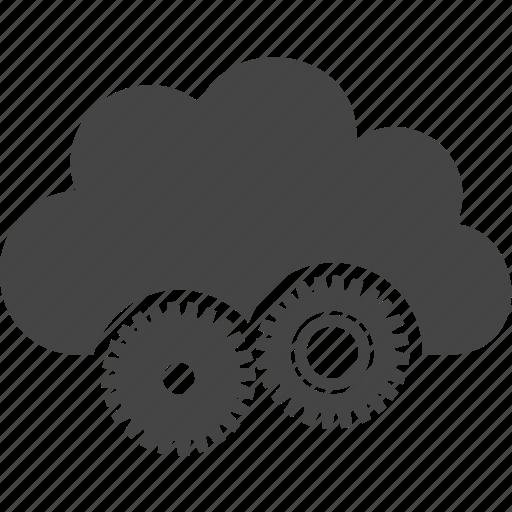cloud, gear, mechanism, sky icon