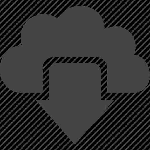 arrow, cloud, down, sky icon