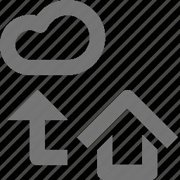 arrow, backup, cloud, home, icloud, storage, up, upload icon