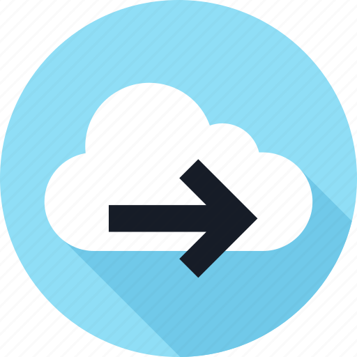arrow, cloud, forward, go, weather icon