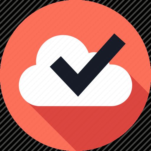 check, cloud, mark, ok, storage, weather icon